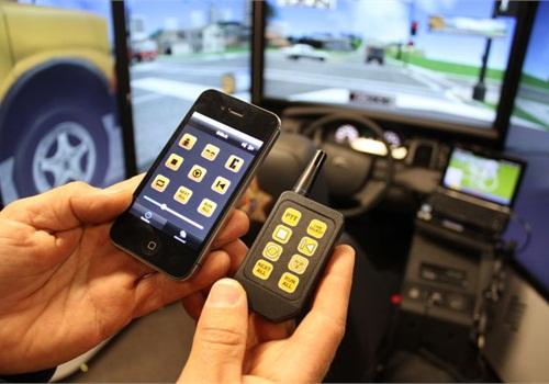 LAPD EVOC instructors can control driver training scenarios via an iPhone app. Photo: Paul Clinton