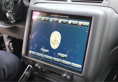 The LAPD is testing a dashboard touchscreen monitor for future patrol vehicles. Photo: Paul Clinton