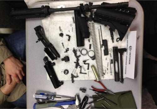 Tools needed to disassemble an AR-tyle rifle are provided at Colt's law enforcement armorer's course. Photo: Dean Caputo