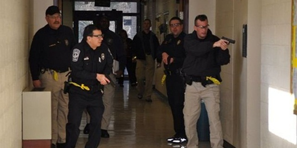 Photo of active shooter training courtesy of Northern Virginia Community College.
