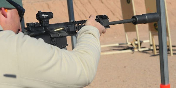 SIG's SD .308 supressor mounted to the SIG716 Precision rifle. Photo: Mark W. Clark
