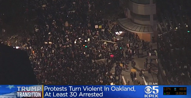 Video: 3 Officers Injured in Oakland Anti-Trump Riot