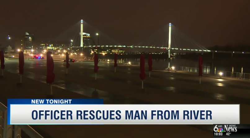 Video: Omaha Officer Dives In and Rescues Man who Jumped Off Bridge into River
