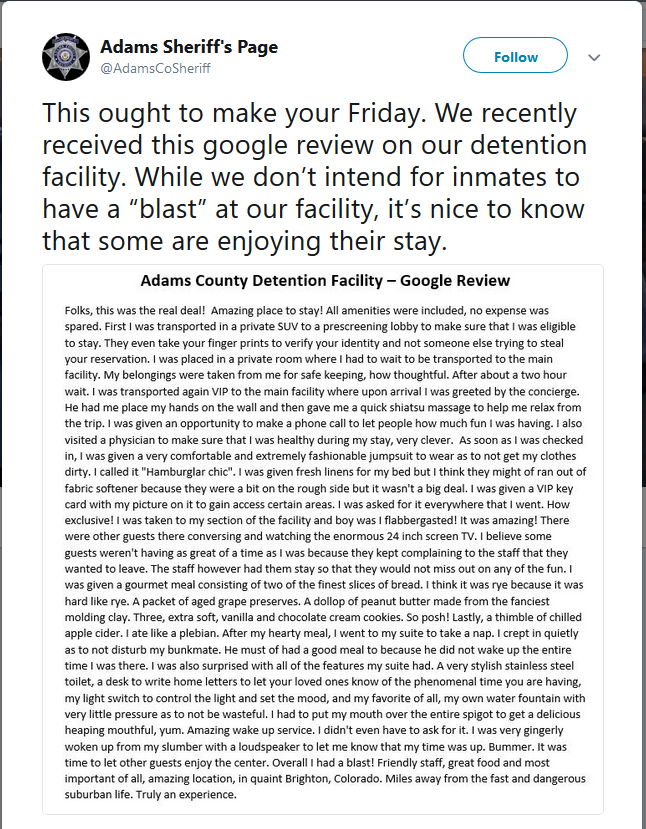 Former Inmate Posts Comical Review of Colorado County Jail Visit
