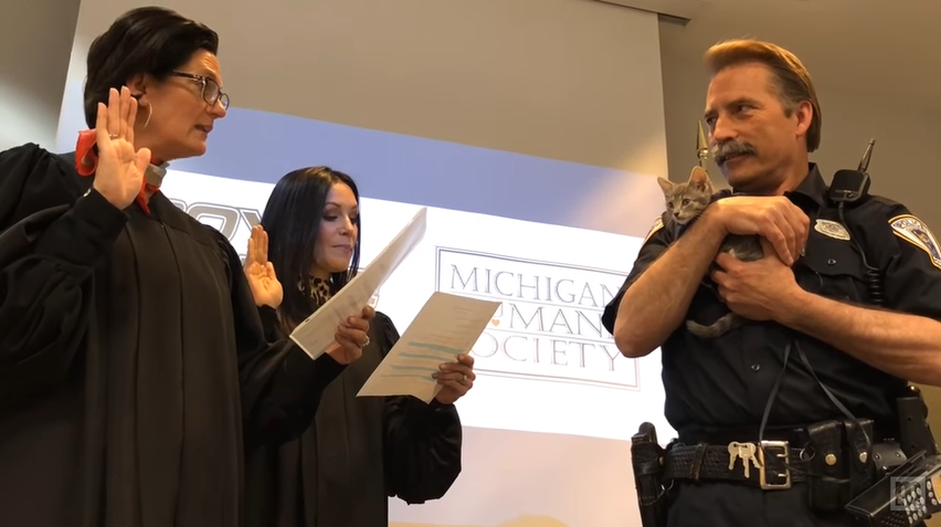 Video: Michigan Police Department Swears in Cat as Officer