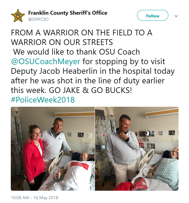 Buckeyes Coach Visits Ohio Officer Shot in Line of Duty