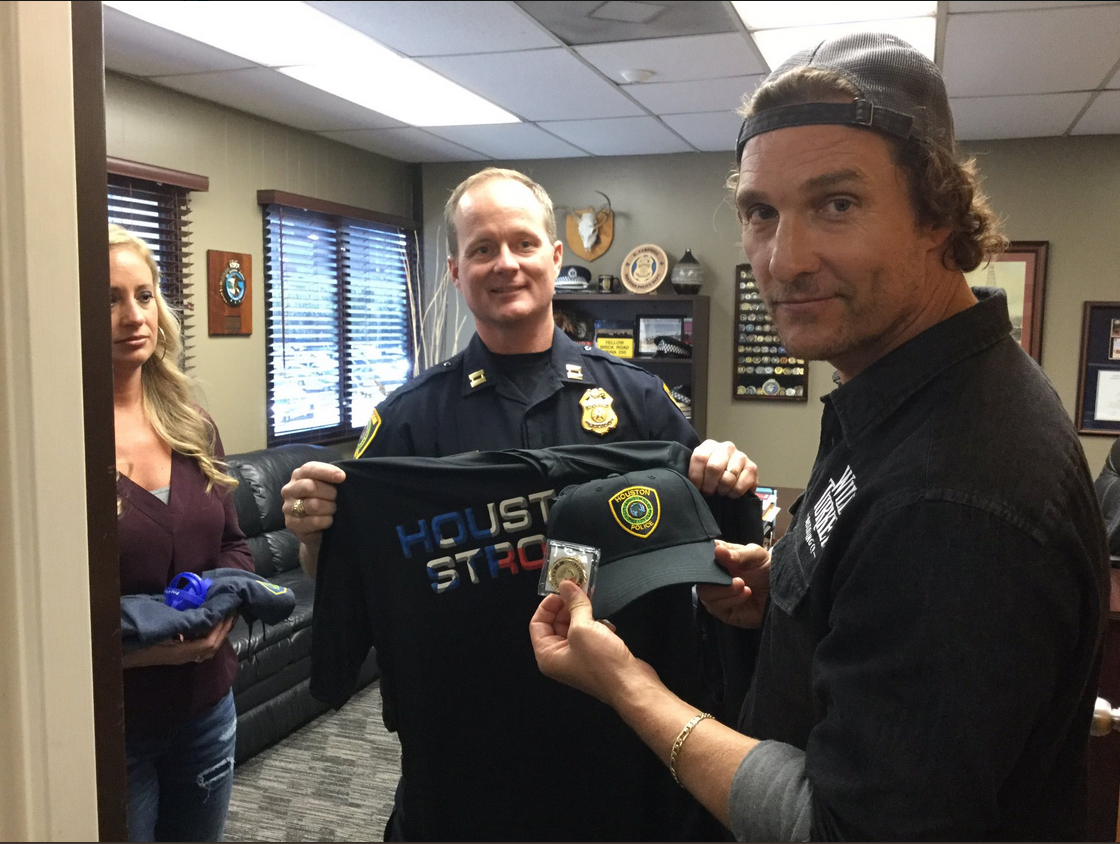 Matthew McConaughey Brings Lunch to Houston Officers for First Responders Day
