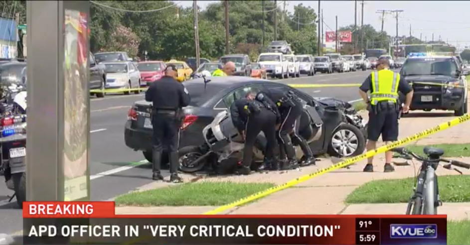 Video: TX Motor Officer Critically Injured in Funeral Procession Crash