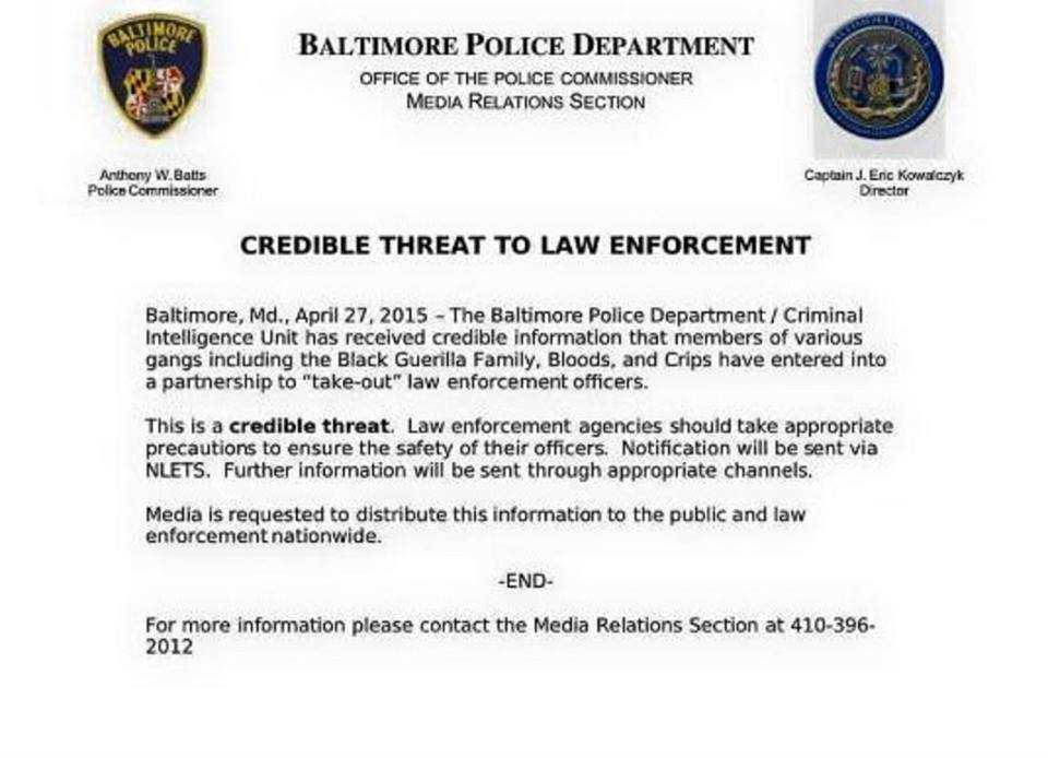 Baltimore Police Say Gangs are Teaming Up to