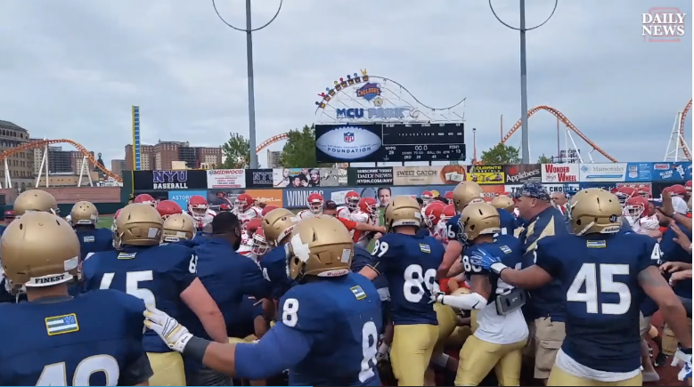 Video: NYPD vs. NYFD Charity Football Game Ends in Brawl