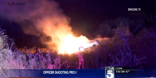 Video: California Officer Shot in Badge, Suspect Dies in Fiery Crash
