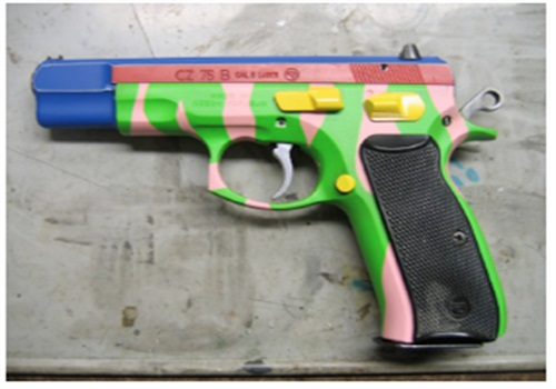 Brightly painted real handgun.