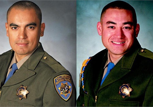 CHP Officers Juan Gonzalez and Brian Law. Photo courtesy of the California Highway Patrol