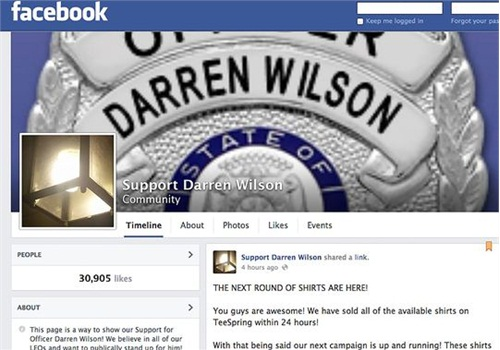 A Facebook page supporting Officer Darren Wilson of the Ferguson PD. (Photo: Ferguson PD)