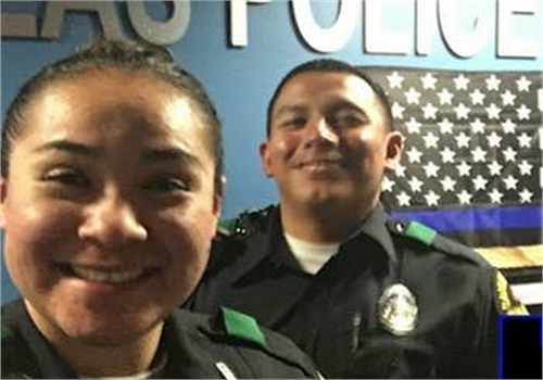 Dallas police Officers Rogelio Santander and Crystal Almeida were best friends and partners. Santander was shot and killed last week. Almeida was critically wounded in the same incident. She is recovering. (Photo: Dallas PD)