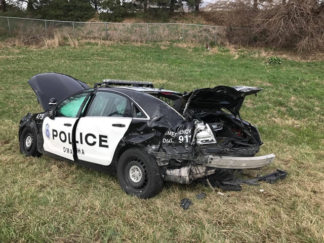 Omaha Officer Brian Vanderheiden was injured Tuesday when his patrol car was struck by another vehicle during a traffic stop. (Photo: Omaha PD/Facebook)