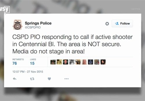 Colorado Springs PD is tweeting about the incident. (Screen shot from USA Today/Newsy video)