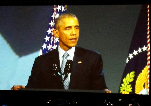 President Barack Obama speaks live to attendees at IACP 2015. (Photo: Melanie Basich)