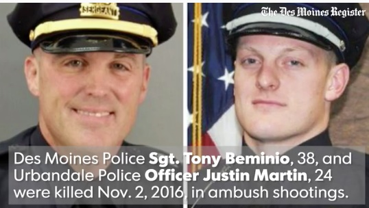 "Urbandale (Iowa) Police Officer Justin Martin, 24, and Des Moines Police Sgt. Anthony ""Tony"" Beminio, 38, were ambushed and killed last November. (Photo: Screen shot from Des Moines Register video)"