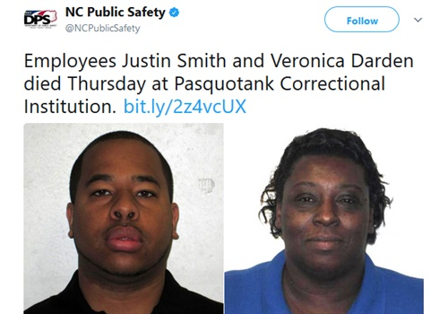 Correctional Officer Justin Smith and Correction Enterprises Manager Veronica Darden were killed. (Photo: North Carolina Department of Public Safety/Twitter)