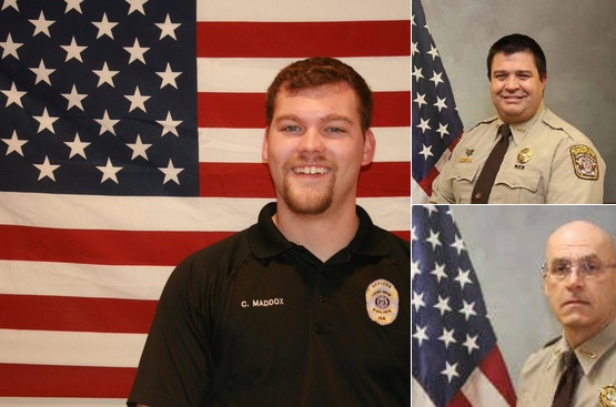 "The GBI has released the names of the three officers shot in Friday's Henry County, GA, shooting: Fallen Locust Grove Officer Chase Maddox, Henry County Sheriff's Deputies Michael D. Corley (pic 2), and Ralph Sidwell ""Sid"" Callaway (pic 3). Photo: GBI/Twitter"