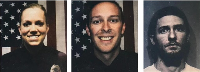 Officer Taylor Beach (left), of the Coeur d'Alene Police Department and Officer Charles Hatley (center), confronted Curtis Ware (right). Ware shot Hatley, hitting him once in the abdomen. Ware was killed when police returned fire. (Coeur d'Alene Police Department)