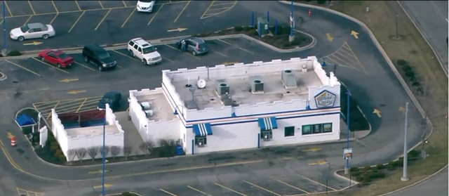 "A man was arrested in this Hobart, IN, White Castle after police found a suspected ""one-pot"" meth lab. (Photo: WGN screen shot)"