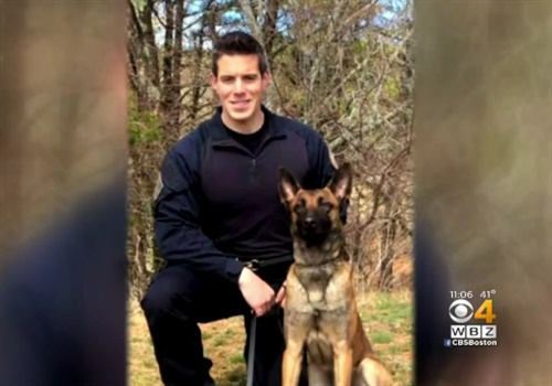 Officer Sean Gannon is survived by his wife Dara. He was an 8-year veteran of the department and the department's first full-time drug detection K-9 patrol officer. Photo: WBZ-TV screenshot