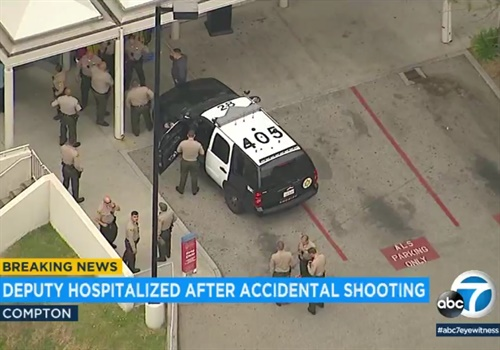 A Los Angeles deputy was rushed to the hospital after an apparent accidental shooting. Photo: KABC screen capture