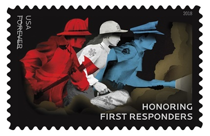 "The new USPS stamp features a firefighter, an EMS worker, and a law enforcement officer all racing into action, with the officer ""shining a flashlight toward unknown danger ahead. Photo: US Postal Service"