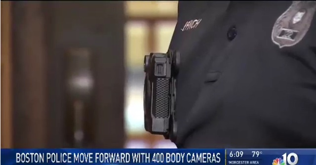More Boston police officers are expected to be wearing body cameras in the near future.Photo: NBC Boston screenshot