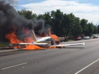 The pilot walked away from this fiery crash in Roy, UT, with the assistance of an off-duty Ogden officer. (Photo: Ogden PD/Facebook)