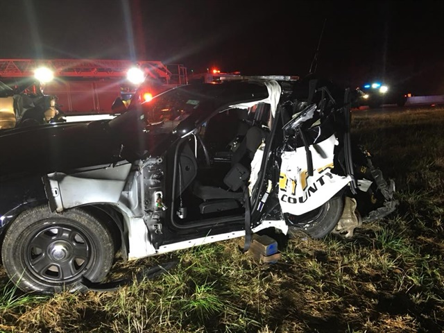 A Forsyth County (GA) Sheriff's deputy was seriously injured Friday night when another vehicle slammed into his patrol car. (Photo: Forsyth County SO/Facebook)
