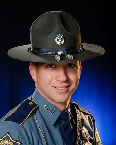 Arkansas Trooper Kyle Sheldon was shot Sunday night at a traffic stop. His wound is reportedly not life threatening. A suspect is in custody. (Photo: Arkansas State Police)