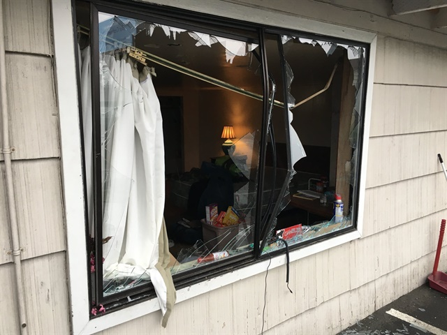 This Edmonds, WA, motel room was reportedly trashed by a man during a standoff with police Tuesday. (Photo: Edmonds PD)