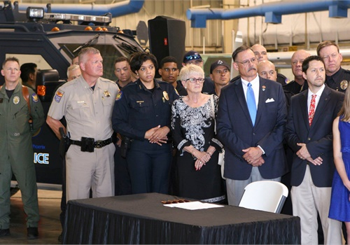 Wednesday afternoon Phoenix Police Chief Jeri Williams joined Mayor Thelda Williams, Fire Chief Kara Kalkbrenner, and others as Governor Ducey signed a new first responder PTSD bill into law. (Photo: Facebook)