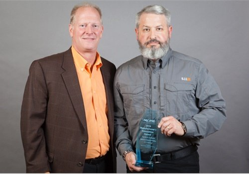 5.11 Tactical's David Hein accepts the 2016 Manufacturer's Innovation Award for its Tactical Uniform for the Mexican National Police.