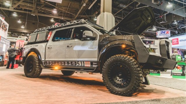 The F-511 truck at the Volant Performance booth at the SEMA Show. (Photo: 5.11 Tactical)