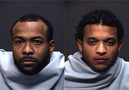 Earl Young Jr. (L) and Fabian Nunley were arrested Sunday after police say gunshots were fired at two officers in a squad car Sunday morning. (Photo: Tucson PD)