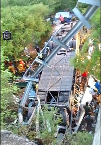 A bus carrying dozens of Argentine police officers plunged off of a bridge killing at least 41 Monday. (Photo: uncredited from NBC News)