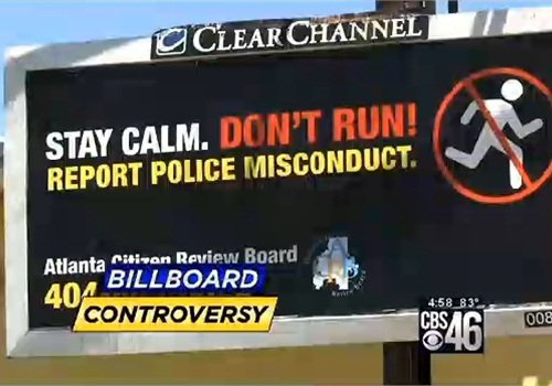 """One of the 'don't run"""" from police billboards in the Atlanta campaign that began Monday and ended Tuesday night. (Photo: Screen Shot from CBS 46 TV)"""