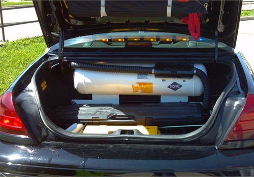 TheIowa County (Wis.) Sheriff's Office converted a Ford Crown Vic to run on propane fuel. Photo: Alliance AutoGas.