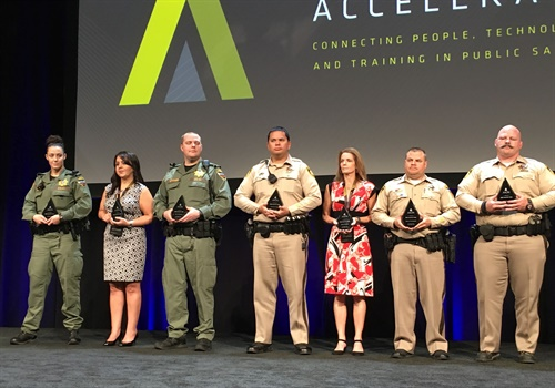 Axon today announced the winners of the 2018 Axon RISE Awards, seven members of the Las Vegas Metropolitan Police Department. (Photo: Leslie Pfeiffer)