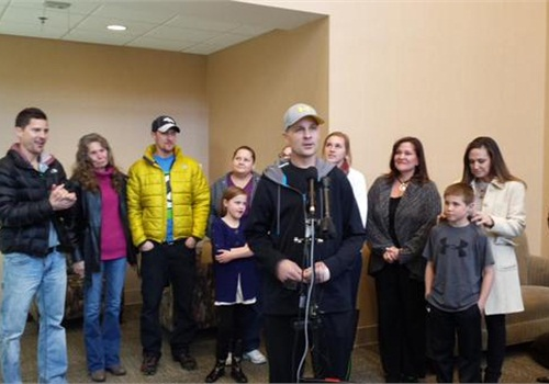 Officer John Adsit addressed supporters as he is released from the hospital. (Photo: Twitter)