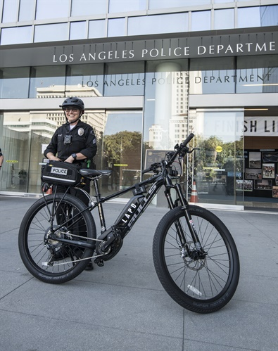 LAPD officer with one of the agency's new Bulls Sentinel eBikes. (Photo: Bulls)