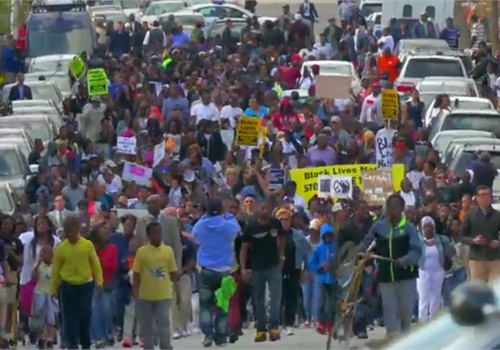 Protests over the in-custody death of Freddie Gray are expected to continue Thursday. (Photo: Screen Shot from Baltimore Sun video)