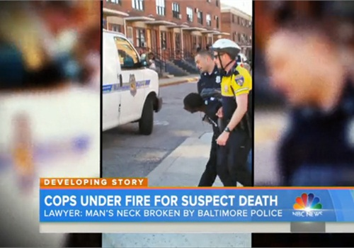 A bystander video captured the arrest of Freddie Gray. Gray, 25, died in police custody. Six officers have been suspended and an investigation is under way. (Photo: NBC News Screen Shot)