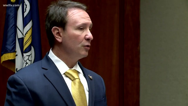 Attorney General Jeff Landry announces that his office will not file charges against the two Baton Rouge officers involved in the fatal shooting of Alton Sterling in 2016.