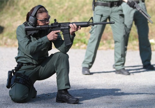 Spokeswoman Aysha Webb wearing BlackHawk's new women's line of tactical pants and top. Photo: BlackHawk