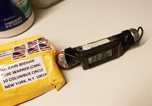 Suspicous package and contents sent to CNN (Photo: Twitter)